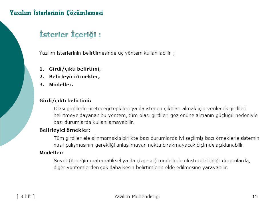 Yazılım Mühendisliği15 Yazılım İ sterlerinin Çözümlemesi [ 3.hft ]