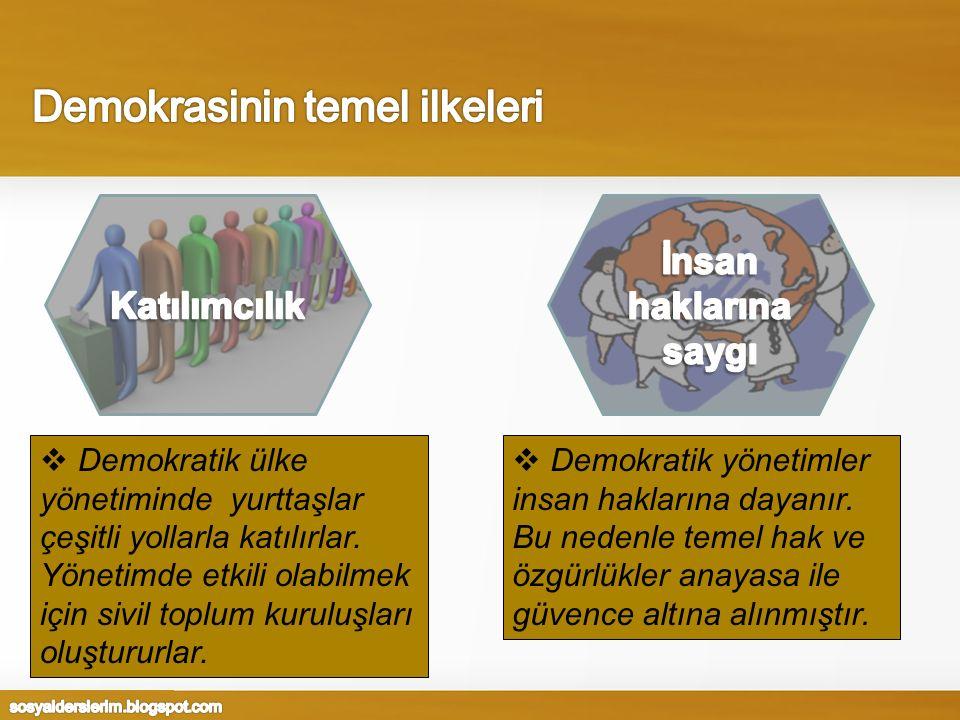  Demokratik ülke yönetiminde yurttaşlar çeşitli yollarla katılırlar. Yönetimde etkili olabilmek için sivil toplum kuruluşları oluştururlar.  Demokra