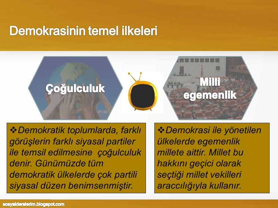  Demokratik toplumlarda, farklı görüşlerin farklı siyasal partiler ile temsil edilmesine çoğulculuk denir.
