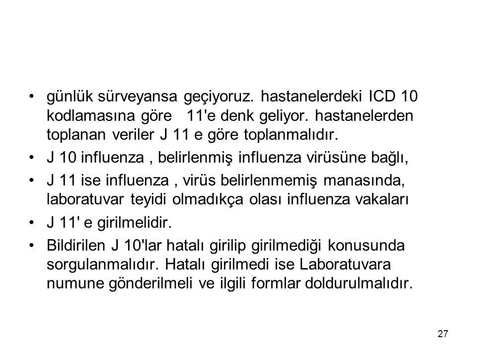 27 günlük sürveyansa geçiyoruz. hastanelerdeki ICD 10 kodlamasına göre 11 e denk geliyor.
