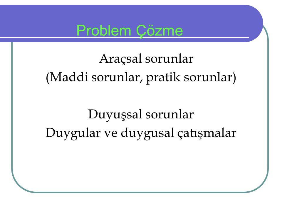 Problem Çözme Araçsal sorunlar (Maddi sorunlar, pratik sorunlar) Duyuşsal sorunlar Duygular ve duygusal çatışmalar