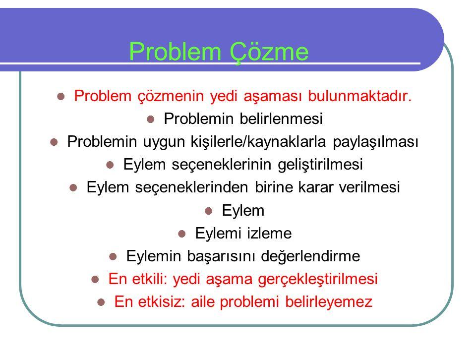 Problem Çözme Problem çözmenin yedi aşaması bulunmaktadır.