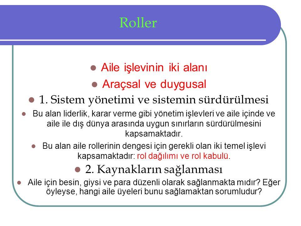 Roller Aile işlevinin iki alanı Araçsal ve duygusal 1.