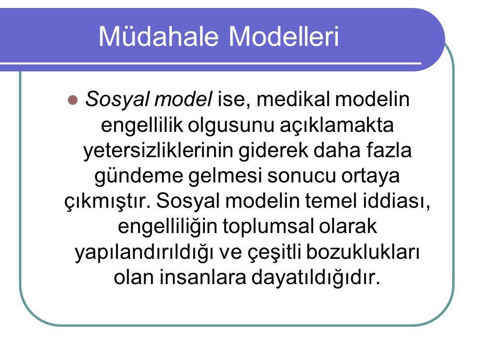 Müdahale Modelleri Sosyal model ise, medikal modelin engellilik olgusunu açıklamakta yetersizliklerinin giderek daha fazla gündeme gelmesi sonucu ortaya çıkmıştır.
