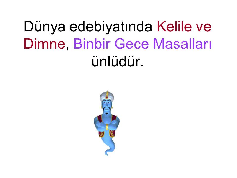 Dünya edebiyatında Kelile ve Dimne, Binbir Gece Masalları ünlüdür.
