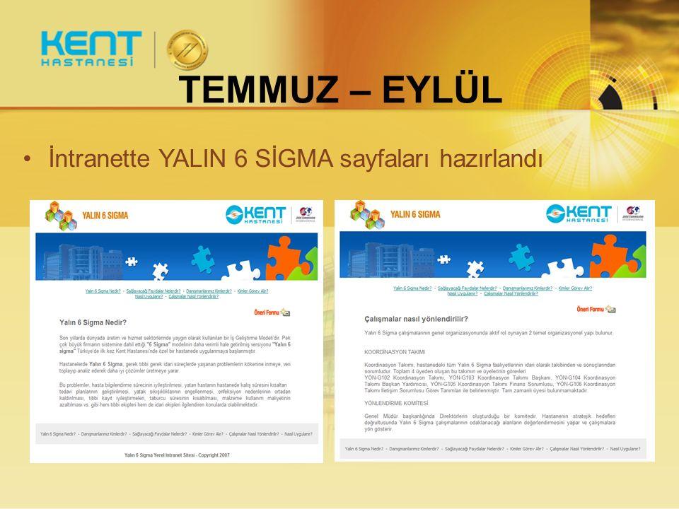 TEMMUZ – EYLÜL İntranette YALIN 6 SİGMA sayfaları hazırlandı