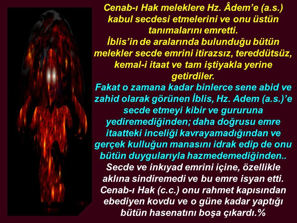 Cenab-ı Hak meleklere Hz. Âdem'e (a.s.) kabul secdesi etmelerini ve onu üstün tanımalarını emretti. İblis'in de aralarında bulunduğu bütün melekler se
