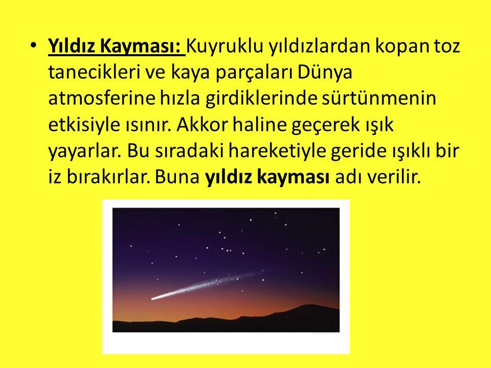 Yıldız Kayması: Kuyruklu yıldızlardan kopan toz tanecikleri ve kaya parçaları Dünya atmosferine hızla girdiklerinde sürtünmenin etkisiyle ısınır.