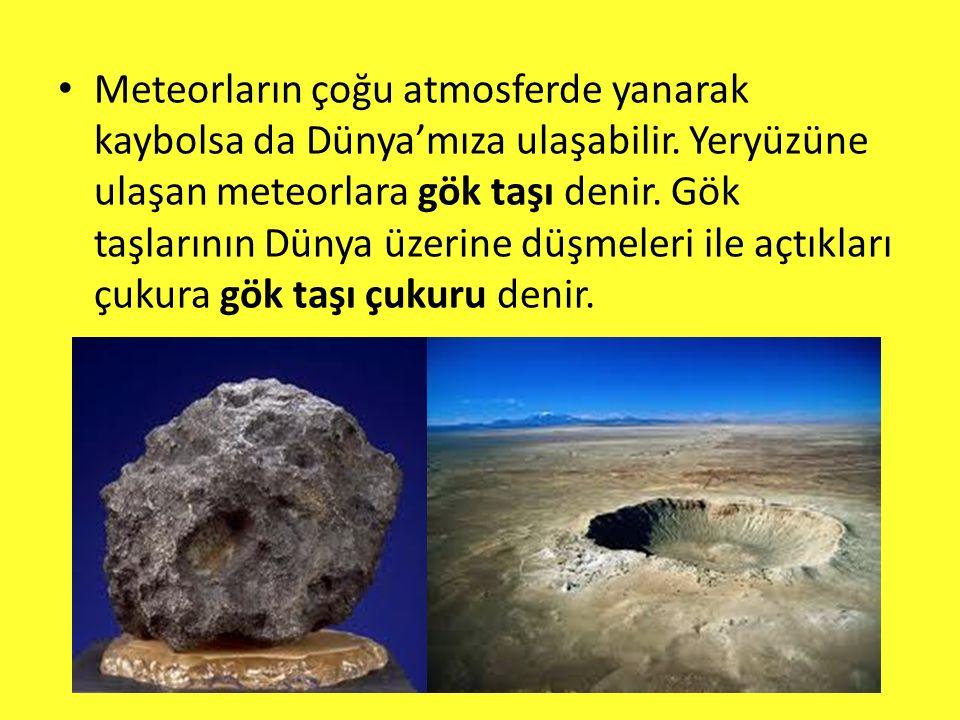 Meteorların çoğu atmosferde yanarak kaybolsa da Dünya'mıza ulaşabilir.