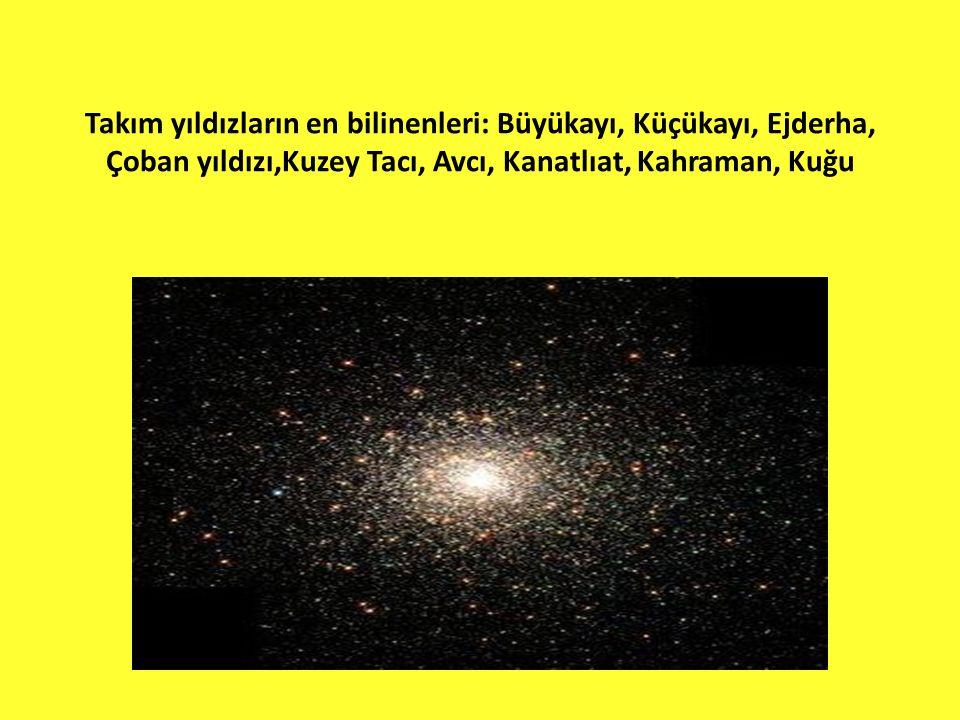 Takım yıldızların en bilinenleri: Büyükayı, Küçükayı, Ejderha, Çoban yıldızı,Kuzey Tacı, Avcı, Kanatlıat, Kahraman, Kuğu