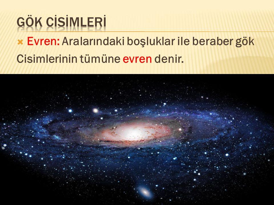  Evren: Aralarındaki boşluklar ile beraber gök Cisimlerinin tümüne evren denir.