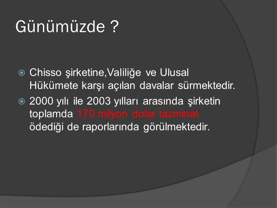 Günümüzde .  Chisso şirketine,Valiliğe ve Ulusal Hükümete karşı açılan davalar sürmektedir.