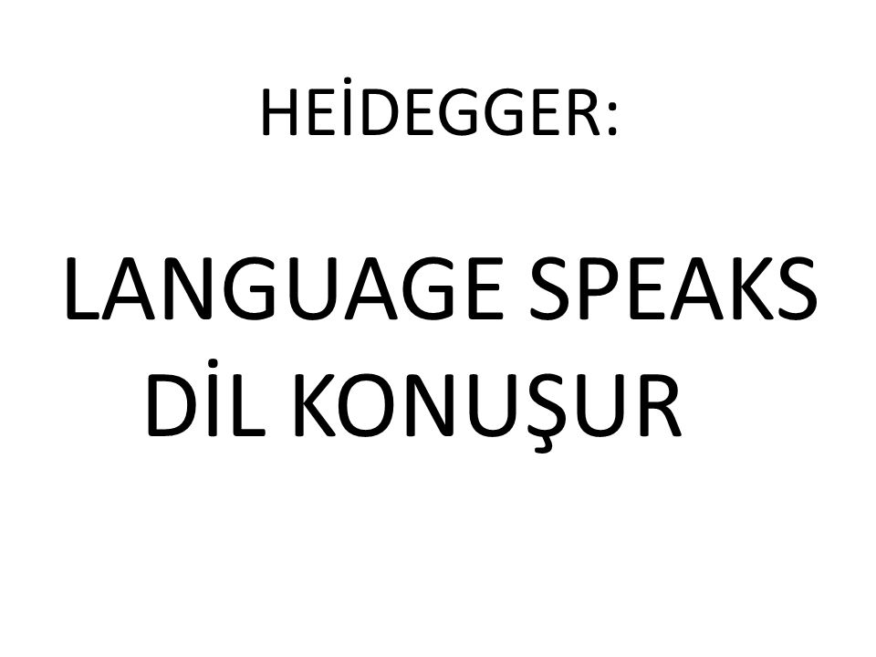 HEİDEGGER: LANGUAGE SPEAKS DİL KONUŞUR