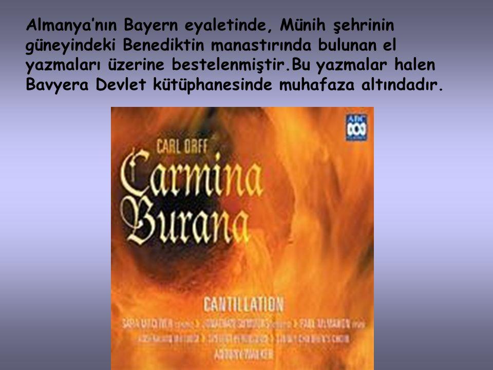 Carmina Burana çoğu bölümleri Ortaçağ Latincesi ve bazı bölümleri de Ortaçağ Almancası kullanılarak yazılmış 318 şarkıdan aktarılmış, ortaçağın en büy