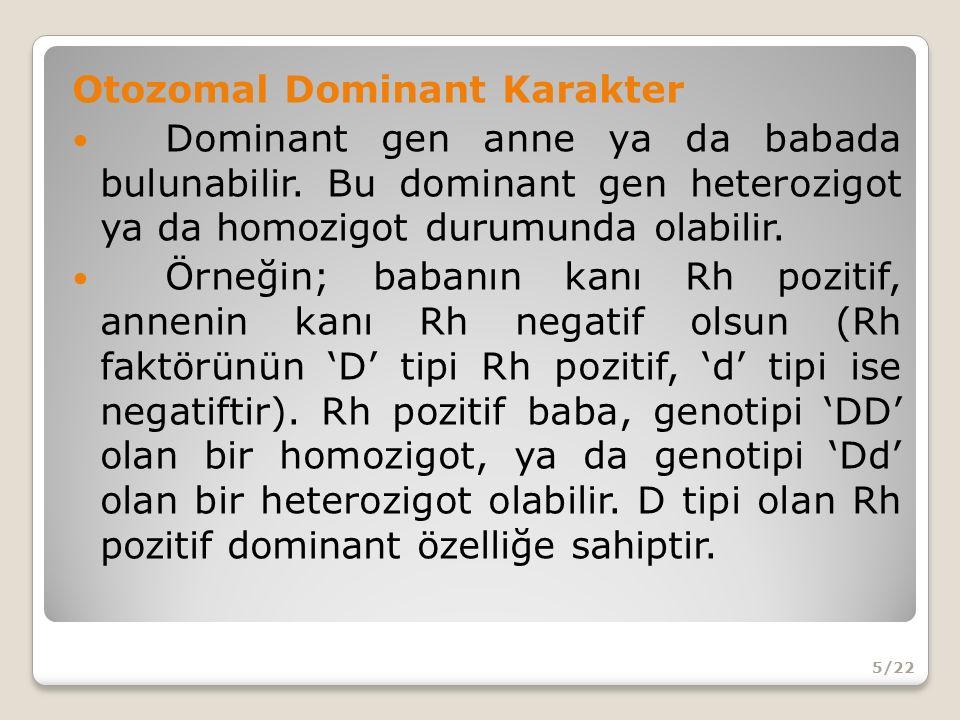 Otozomal Dominant Karakter Dominant gen anne ya da babada bulunabilir.