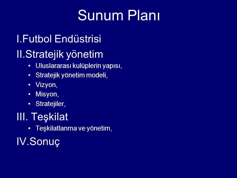 Sunum Planı I.Futbol Endüstrisi II.Stratejik yönetim Uluslararası kulüplerin yapısı, Stratejik yönetim modeli, Vizyon, Misyon, Stratejiler, III. Teşki