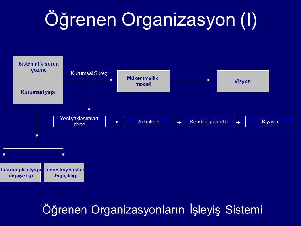 Kurumsal yapı Teknolojik altyapı değişikliği Mükemmellik modeli Vizyon Yeni yaklaşımları dene Adapte etKendini güncelle İnsan kaynakları değişikliği K