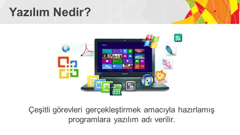 Çeşitli görevleri gerçekleştirmek amacıyla hazırlamış programlara yazılım adı verilir.