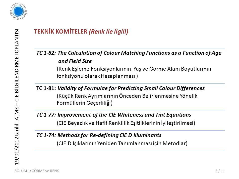 19/01/2012 tarihli ATMK – CIE BİLGİLENDİRME TOPLANTISI 5 / 11 TEKNİK KOMİTELER (Renk ile ilgili) TC 1-82: The Calculation of Colour Matching Functions as a Function of Age and Field Size (Renk Eşleme Fonksiyonlarının, Yaş ve Görme Alanı Boyutlarının fonksiyonu olarak Hesaplanması ) TC 1-81: Validity of Formulae for Predicting Small Colour Differences (Küçük Renk Ayrımlarının Önceden Belirlenmesine Yönelik Formüllerin Geçerliliği) TC 1-77: Improvement of the CIE Whiteness and Tint Equations (CIE Beyazlık ve Hafif Renklilik Eşitliklerinin İyileştirilmesi) TC 1-74: Methods for Re-defining CIE D Illuminants (CIE D Işıklarının Yeniden Tanımlanması için Metodlar) BÖLÜM 1: GÖRME ve RENK