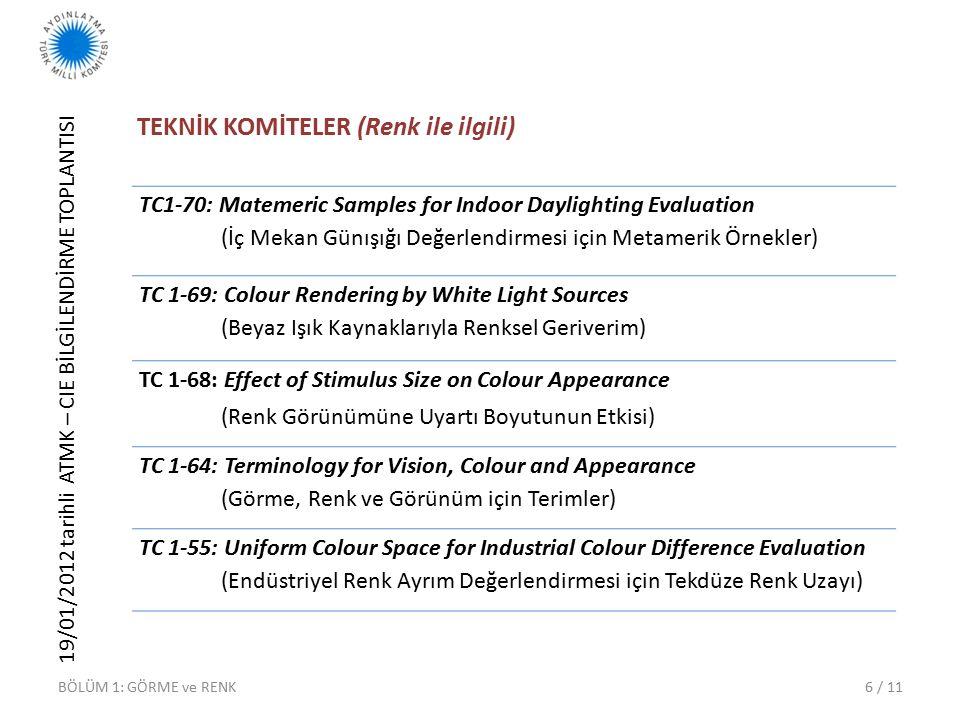 19/01/2012 tarihli ATMK – CIE BİLGİLENDİRME TOPLANTISI 6 / 11 TEKNİK KOMİTELER (Renk ile ilgili) TC1-70: Matemeric Samples for Indoor Daylighting Evaluation (İç Mekan Günışığı Değerlendirmesi için Metamerik Örnekler) TC 1-69: Colour Rendering by White Light Sources (Beyaz Işık Kaynaklarıyla Renksel Geriverim) TC 1-68: Effect of Stimulus Size on Colour Appearance (Renk Görünümüne Uyartı Boyutunun Etkisi) TC 1-64: Terminology for Vision, Colour and Appearance (Görme, Renk ve Görünüm için Terimler) TC 1-55: Uniform Colour Space for Industrial Colour Difference Evaluation (Endüstriyel Renk Ayrım Değerlendirmesi için Tekdüze Renk Uzayı) BÖLÜM 1: GÖRME ve RENK