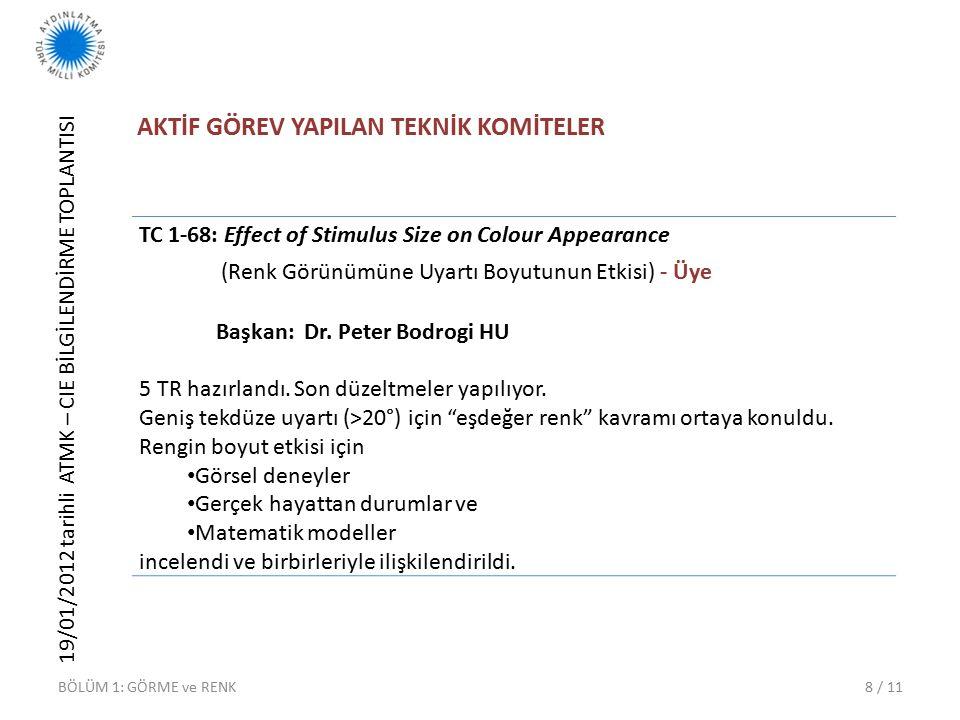 19/01/2012 tarihli ATMK – CIE BİLGİLENDİRME TOPLANTISI 8 / 11 AKTİF GÖREV YAPILAN TEKNİK KOMİTELER BÖLÜM 1: GÖRME ve RENK TC 1-68: Effect of Stimulus Size on Colour Appearance (Renk Görünümüne Uyartı Boyutunun Etkisi) - Üye Başkan: Dr.
