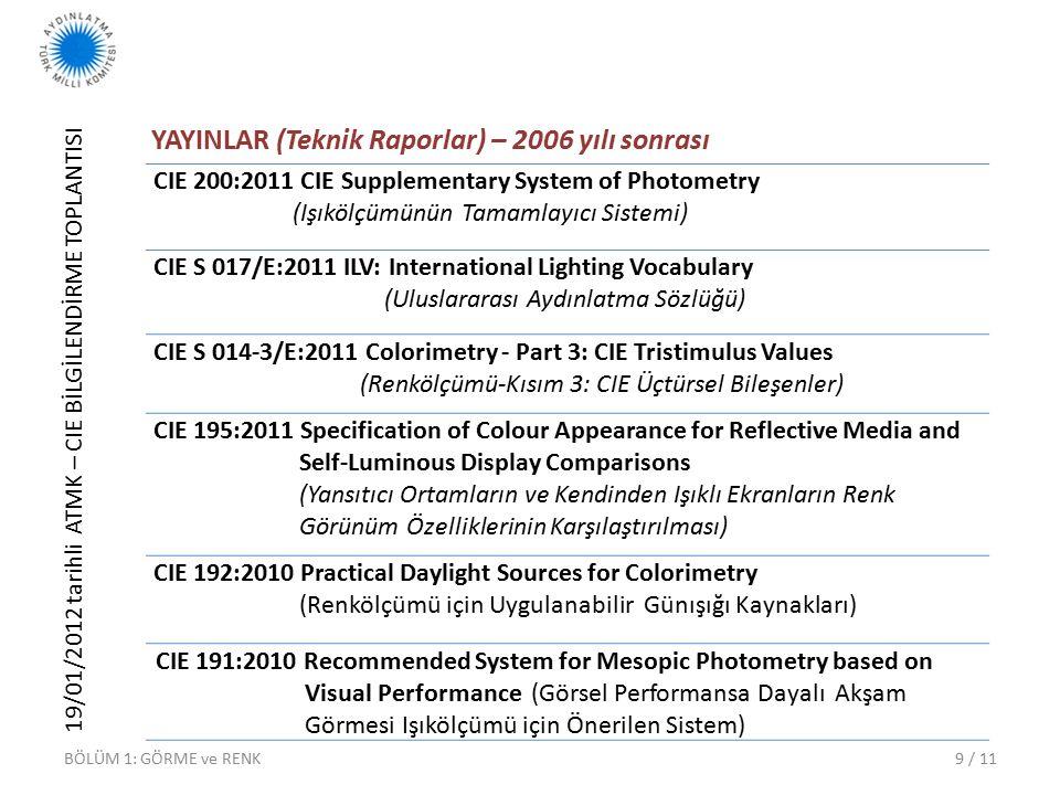 19/01/2012 tarihli ATMK – CIE BİLGİLENDİRME TOPLANTISI 9 / 11 YAYINLAR (Teknik Raporlar) – 2006 yılı sonrası BÖLÜM 1: GÖRME ve RENK CIE 200:2011 CIE Supplementary System of Photometry (Işıkölçümünün Tamamlayıcı Sistemi) CIE S 017/E:2011 ILV: International Lighting Vocabulary (Uluslararası Aydınlatma Sözlüğü) CIE S 014-3/E:2011 Colorimetry - Part 3: CIE Tristimulus Values (Renkölçümü-Kısım 3: CIE Üçtürsel Bileşenler) CIE 195:2011 Specification of Colour Appearance for Reflective Media and Self-Luminous Display Comparisons (Yansıtıcı Ortamların ve Kendinden Işıklı Ekranların Renk Görünüm Özelliklerinin Karşılaştırılması) CIE 192:2010 Practical Daylight Sources for Colorimetry (Renkölçümü için Uygulanabilir Günışığı Kaynakları) CIE 191:2010 Recommended System for Mesopic Photometry based on Visual Performance (Görsel Performansa Dayalı Akşam Görmesi Işıkölçümü için Önerilen Sistem)