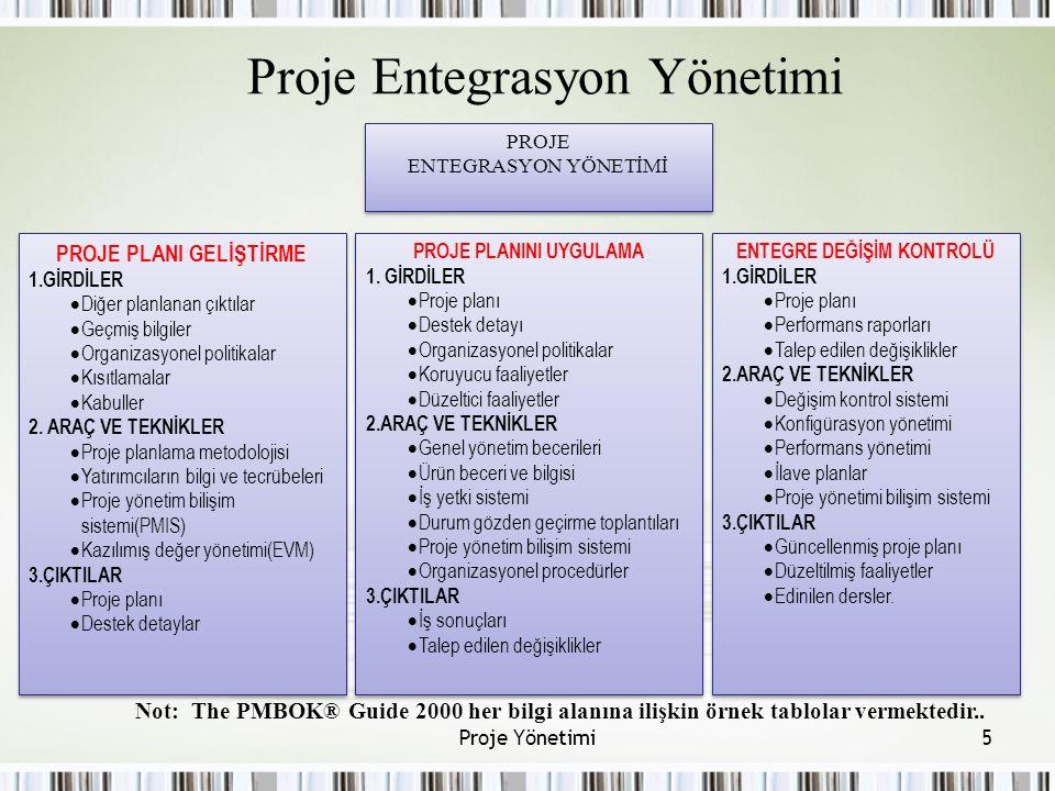 Proje Entegrasyon Yönetimi Not: The PMBOK® Guide 2000 her bilgi alanına ilişkin örnek tablolar vermektedir..