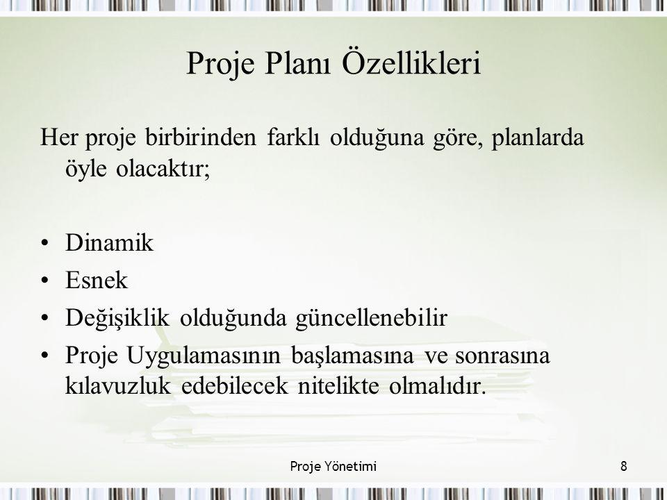 Proje Planı Özellikleri Her proje birbirinden farklı olduğuna göre, planlarda öyle olacaktır; Dinamik Esnek Değişiklik olduğunda güncellenebilir Proje Uygulamasının başlamasına ve sonrasına kılavuzluk edebilecek nitelikte olmalıdır.
