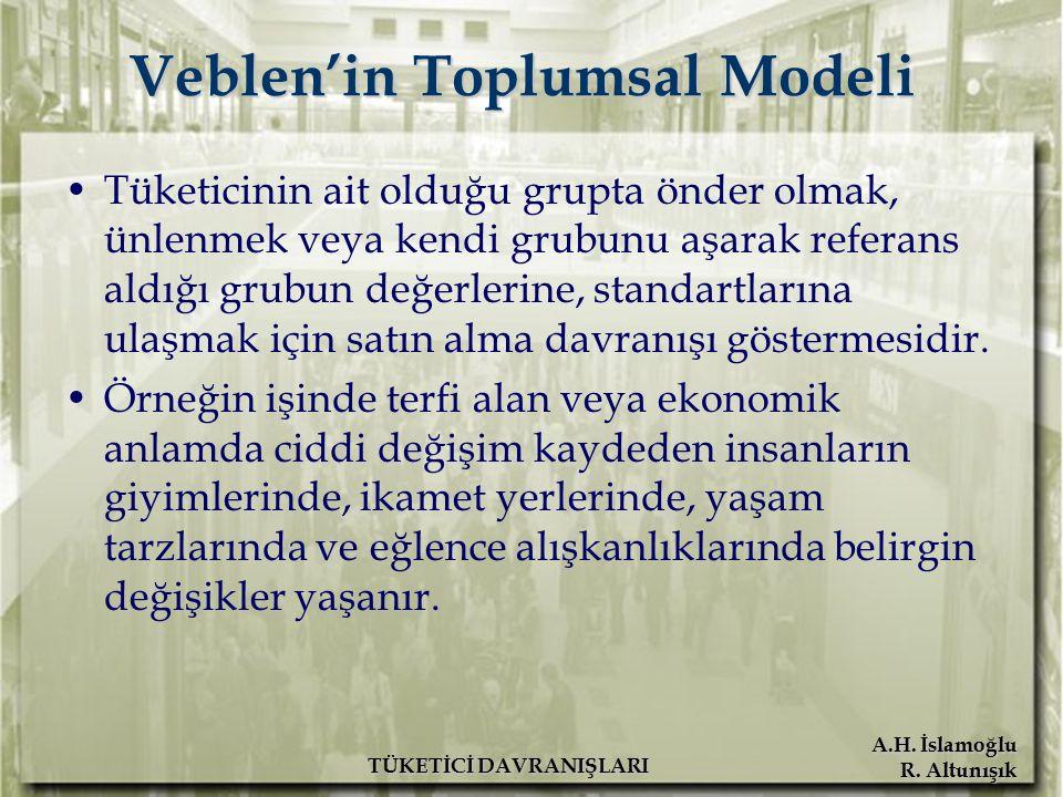 A.H. İslamoğlu R. Altunışık TÜKETİCİ DAVRANIŞLARI Veblen'in Toplumsal Modeli Tüketicinin ait olduğu grupta önder olmak, ünlenmek veya kendi grubunu aş
