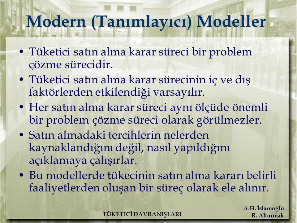 A.H. İslamoğlu R. Altunışık TÜKETİCİ DAVRANIŞLARI Modern (Tanımlayıcı) Modeller Tüketici satın alma karar süreci bir problem çözme sürecidir. Tüketici