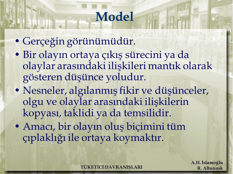 A.H. İslamoğlu R. Altunışık TÜKETİCİ DAVRANIŞLARI Model Gerçeğin görünümüdür. Bir olayın ortaya çıkış sürecini ya da olaylar arasındaki ilişkileri man