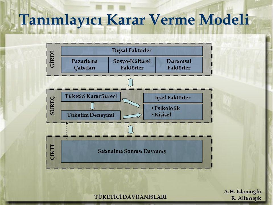 A.H. İslamoğlu R. Altunışık TÜKETİCİ DAVRANIŞLARI Tanımlayıcı Karar Verme Modeli Pazarlama Çabaları Sosyo-Kültürel Faktörler Durumsal Faktörler Dışsal