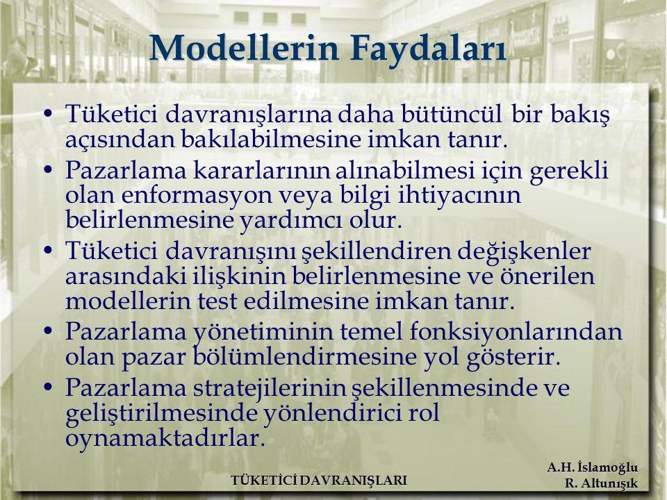 A.H. İslamoğlu R. Altunışık TÜKETİCİ DAVRANIŞLARI Modellerin Faydaları Tüketici davranışlarına daha bütüncül bir bakış açısından bakılabilmesine imkan