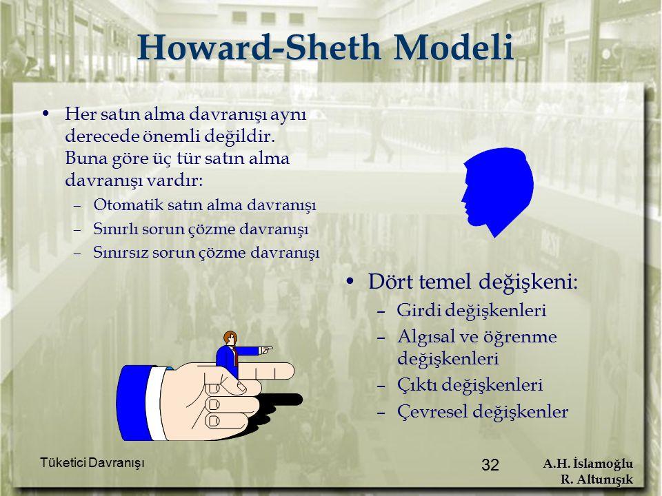 A.H. İslamoğlu R. Altunışık Tüketici Davranışı 32 Howard-Sheth Modeli Her satın alma davranışı aynı derecede önemli değildir. Buna göre üç tür satın a
