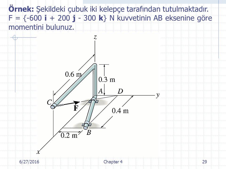 6/27/2016Chapter 429 Örnek: Şekildeki çubuk iki kelepçe tarafından tutulmaktadır. F = {-600 i + 200 j - 300 k} N kuvvetinin AB eksenine göre momentini
