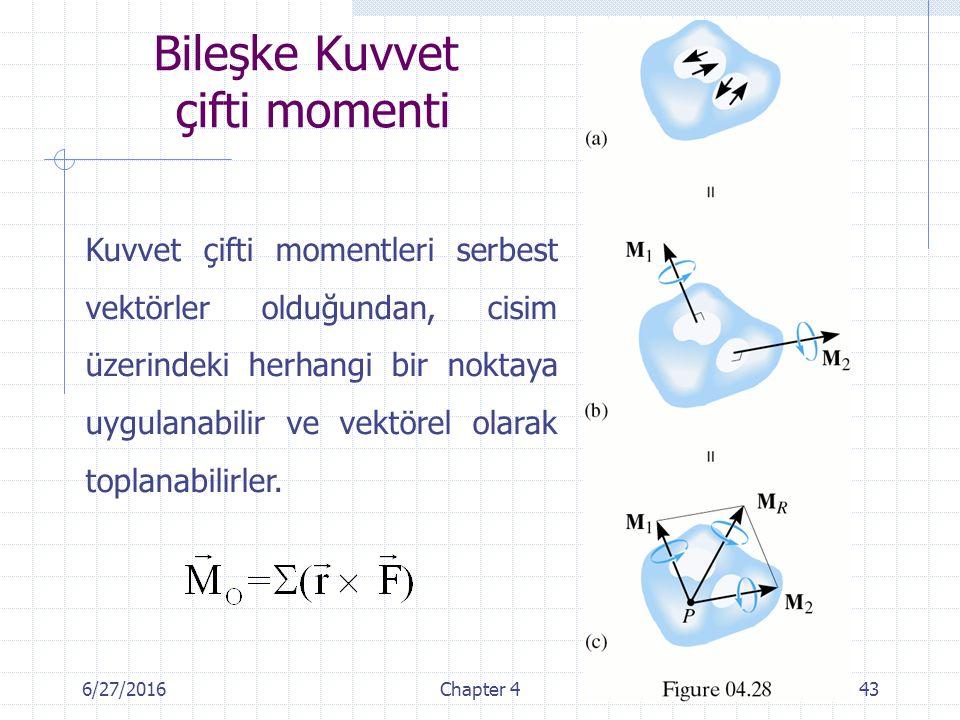 6/27/2016Chapter 443 Kuvvet çifti momentleri serbest vektörler olduğundan, cisim üzerindeki herhangi bir noktaya uygulanabilir ve vektörel olarak topl