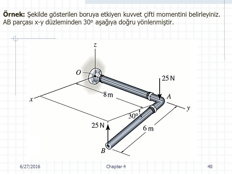 6/27/2016Chapter 448 Örnek: Şekilde gösterilen boruya etkiyen kuvvet çifti momentini belirleyiniz. AB parçası x-y düzleminden 30 o aşağıya doğru yönle