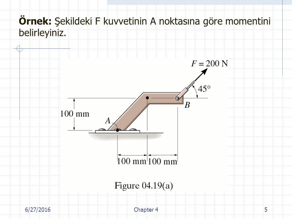 Örnek: Şekildeki F=450 N'luk kuvvetinin x eksenine göre momentini bulunuz. Cevap: M x =73 Nm