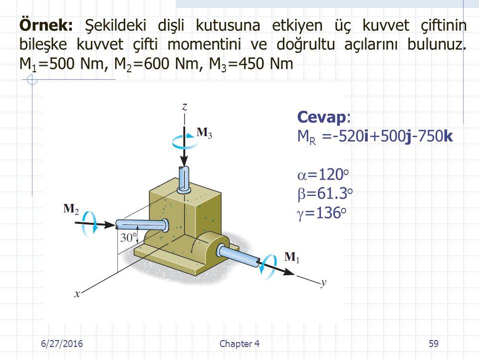 6/27/2016Chapter 459 Cevap: M R =-520i+500j-750k  =120 o  =61.3 o  =136 o Örnek: Şekildeki dişli kutusuna etkiyen üç kuvvet çiftinin bileşke kuvvet