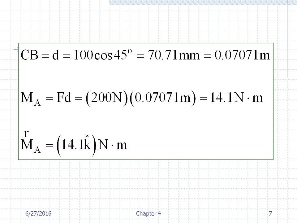 6/27/2016Chapter 448 Örnek: Şekilde gösterilen boruya etkiyen kuvvet çifti momentini belirleyiniz.