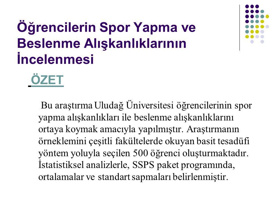 Öğrencilerin Spor Yapma ve Beslenme Alışkanlıklarının İncelenmesi ÖZET Bu araştırma Uludağ Üniversitesi öğrencilerinin spor yapma alışkanlıkları ile b