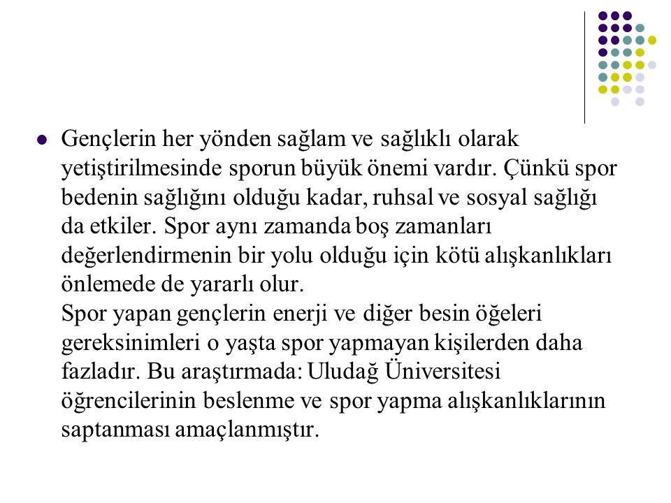 GEREÇ ve YÖNTEM Araştırma, Uludağ Üniversitesi'nde öğrenim gören farklı fakültelerde okuyan öğrencilerden tesadüfî örnekleme yöntemiyle seçilmiş 500 öğrenci ile yapılmıştır.