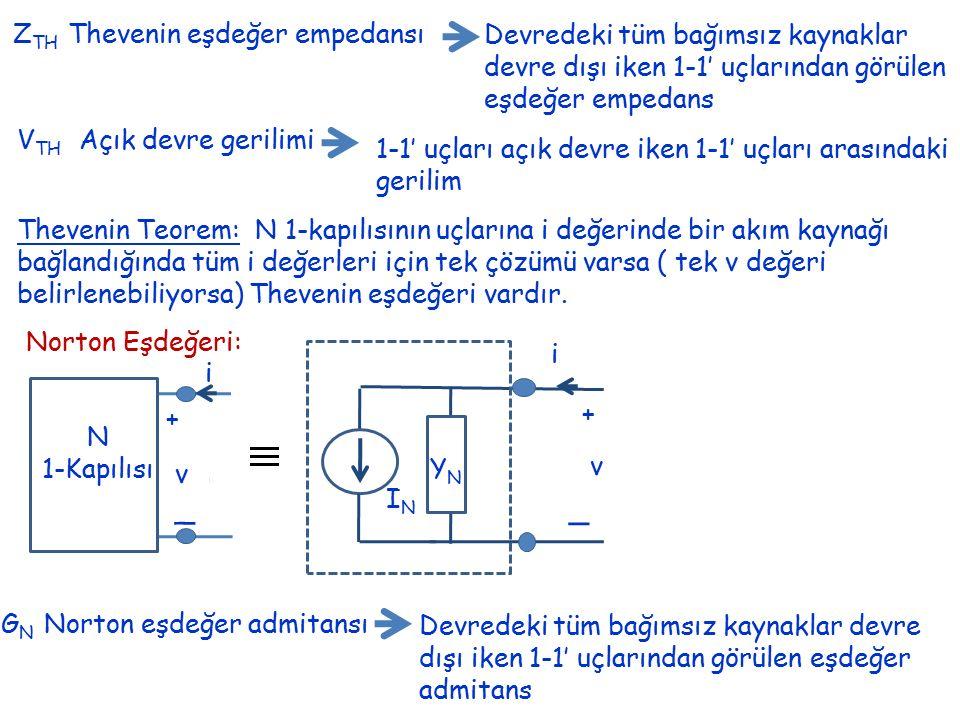 Z TH Thevenin eşdeğer empedansı Devredeki tüm bağımsız kaynaklar devre dışı iken 1-1' uçlarından görülen eşdeğer empedans V TH Açık devre gerilimi 1-1