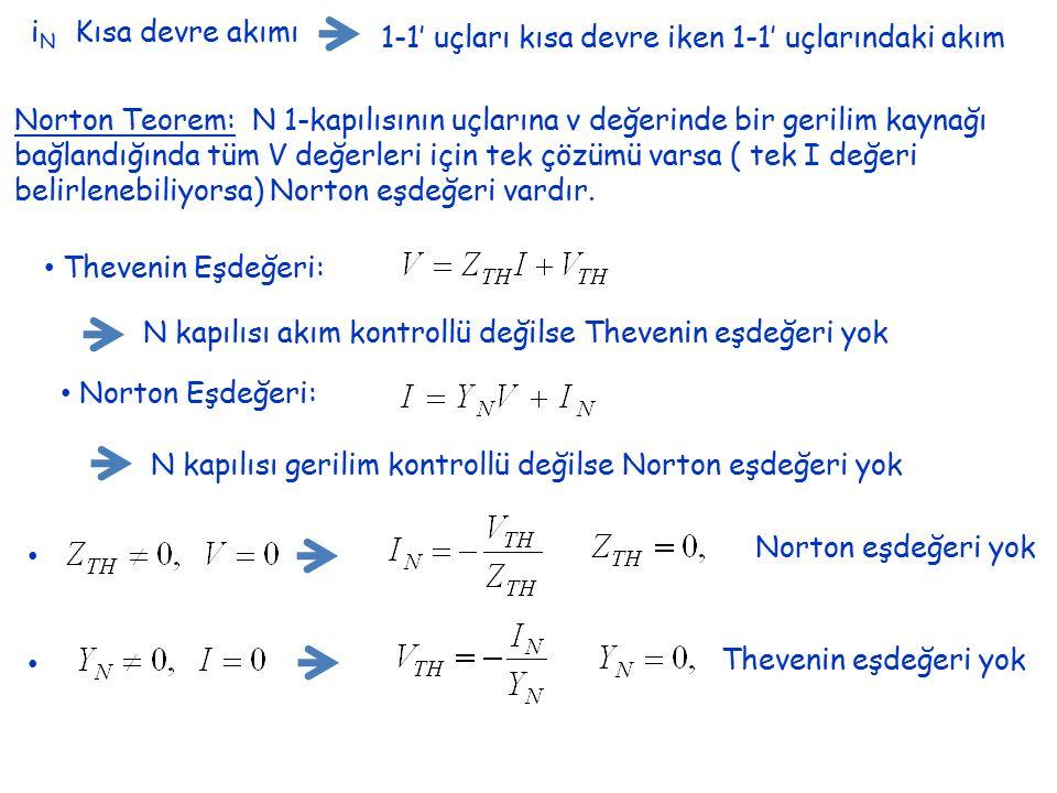 i N Kısa devre akımı 1-1' uçları kısa devre iken 1-1' uçlarındaki akım Norton Teorem: N 1-kapılısının uçlarına v değerinde bir gerilim kaynağı bağland