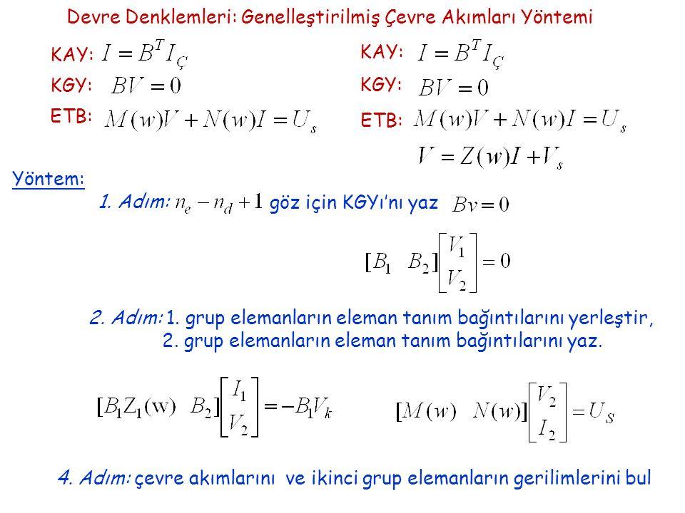 Devre Denklemleri: Genelleştirilmiş Çevre Akımları Yöntemi KAY: KGY: ETB: KAY: KGY: ETB: Yöntem: 1.