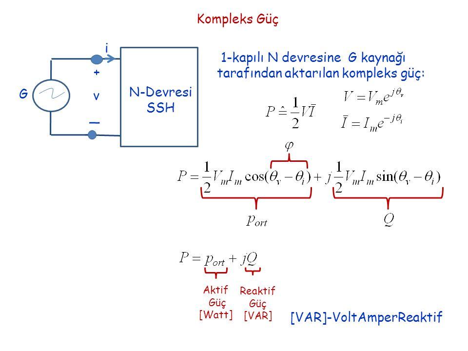 Kompleks Güç i + _ v N-Devresi SSH G 1-kapılı N devresine G kaynağı tarafından aktarılan kompleks güç: Aktif Güç [Watt] Reaktif Güç [VAR] [VAR]-VoltAm