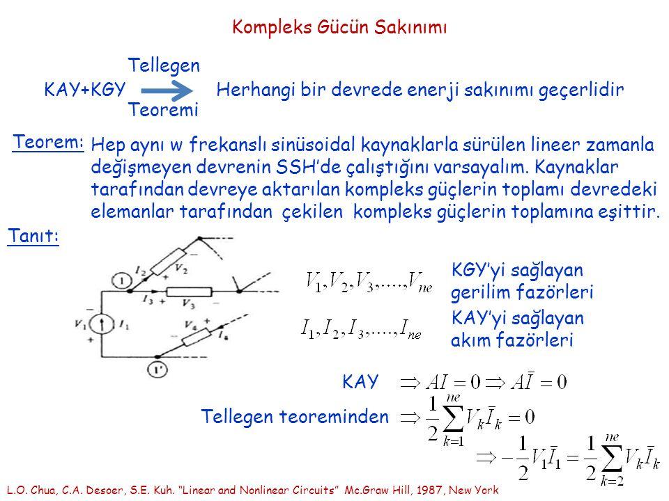 Kompleks Gücün Sakınımı KAY+KGY Tellegen Teoremi Herhangi bir devrede enerji sakınımı geçerlidir Teorem: Hep aynı w frekanslı sinüsoidal kaynaklarla sürülen lineer zamanla değişmeyen devrenin SSH'de çalıştığını varsayalım.