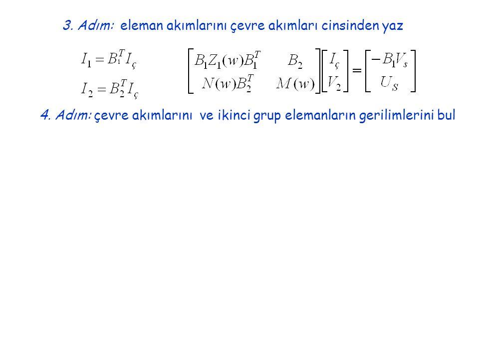 3.Adım: eleman akımlarını çevre akımları cinsinden yaz 4.