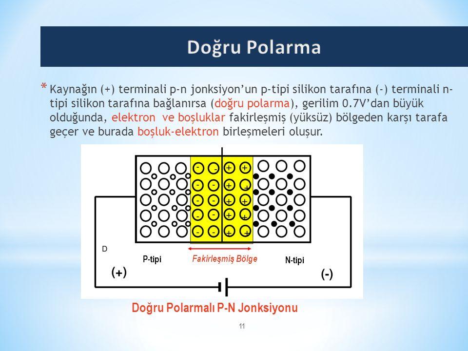 11 * Kaynağın (+) terminali p-n jonksiyon'un p-tipi silikon tarafına (-) terminali n- tipi silikon tarafına bağlanırsa (doğru polarma), gerilim 0.7V'd