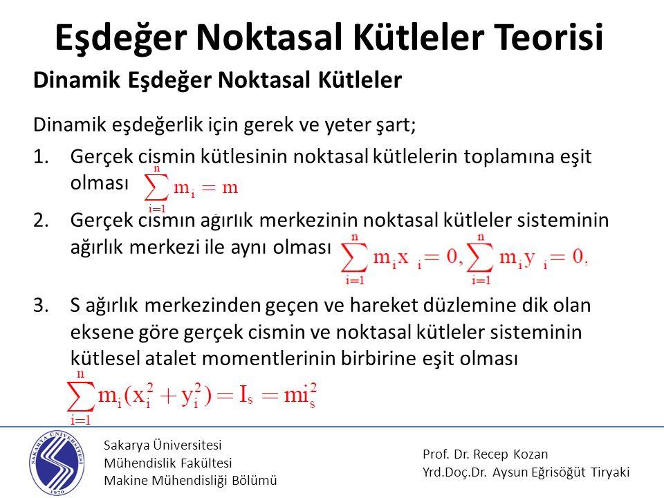Sakarya Üniversitesi Mühendislik Fakültesi Makine Mühendisliği Bölümü Eşdeğer Noktasal Kütleler Teorisi Prof.